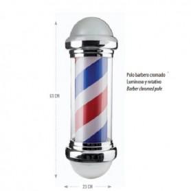 Rótulo poste barbero tradicional con luz