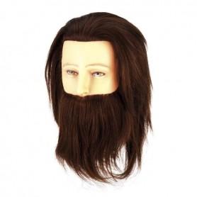 Cabeza maniquí hombre con barba pelo natural